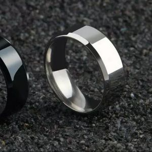 Polished Titanium Silver Ring